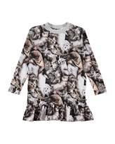 Molo Caras Long-Sleeve Kitten Dress, Size 2T-10