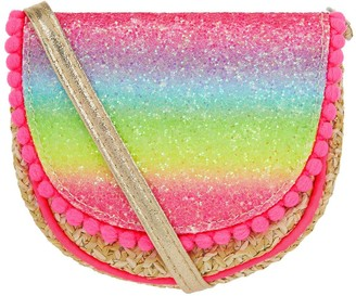 Accessorize Girls Rainbow Glitter Faux Straw Cross Body Bag - Multi