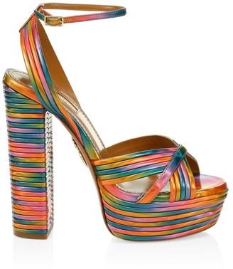 Aquazzura Sundance Platform Rainbow Sandals