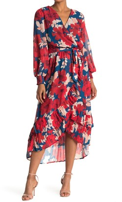 A.Calin Floral Long Sleeve Midi Wrap Dress