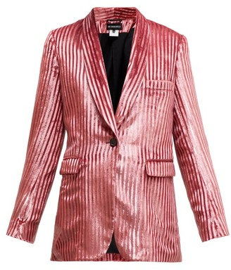 Ann Demeulemeester Illume Striped Velvet-lame Single-breasted Blazer - Womens - Light Pink
