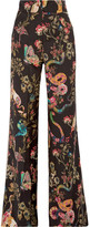 Etro Grosgrain-trimmed Printed Wool Wide-leg Pants - Black