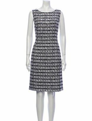 Oscar de la Renta Printed Knee-Length Dress w/ Tags Blue