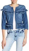 Kensie Frayed Ruffle Cropped Denim Jacket