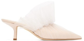 Midnight 00 Antoinette Point-toe Tulle-wrapped Leather Mules - Womens - Light Pink