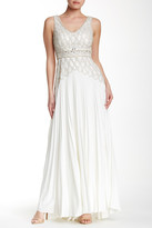 Sue Wong Embellished Pleated Crepe Gown