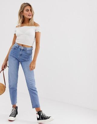 JDY straight leg frayed hem jeans-Blue