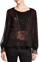 The Kooples Sheer Lace-Up Detail Top