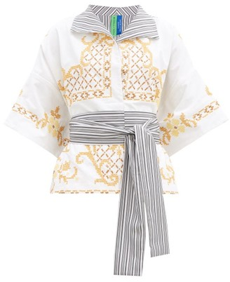 RIANNA + NINA Kendima Embroidered Cotton Shirt - White Multi