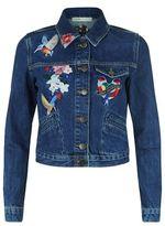 Maje Vivo Embroidered Denim Jacket