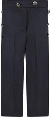 Trussardi Blue Girl Pants With Brands Buttons