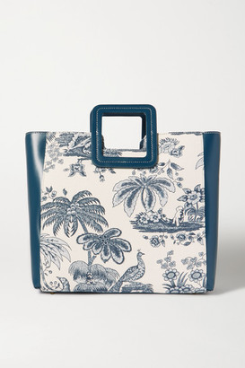 STAUD Shirley Leather And Printed Cotton-canvas Tote - Blue