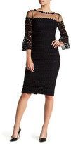 Kay Unger Crochet Lace Bell Sleeve Dress