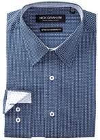 Nick Graham Geo Print Stretch Modern Fit Dress Shirt
