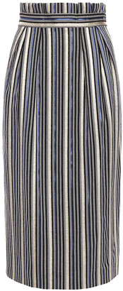 Peter Pilotto Pleated Metallic Striped Jacquard Pencil Skirt
