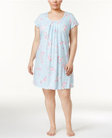 Miss Elaine Plus Size Pintucked Floral-Print Knit Nightgown