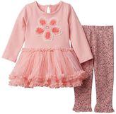 Nannette Baby Girl Floral Tulle Dress & Jacquard Leggings Set