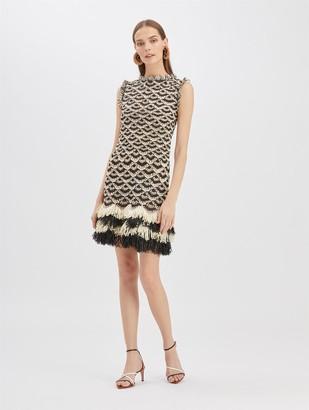 Oscar de la Renta Stripe Raffia Mini Dress
