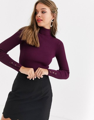 Lipsy high neck button sleeve sweater in burgundy-Red