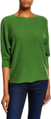 Neiman Marcus Crewneck 3/4-Sleeve Cashmere Sweater