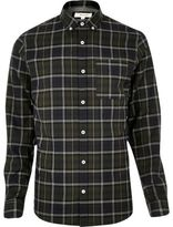 River Island Mens Green casual check flannel shirt