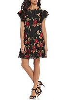 Eva Franco Lotus Embroidered Ruffle Sleeve Dress