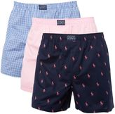 Polo Ralph Lauren 3 Pack Plain And Print Woven Boxer