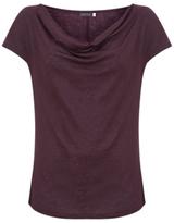 Mint Velvet Shimmer Cowl Neck Linen T-Shirt, Dark Red