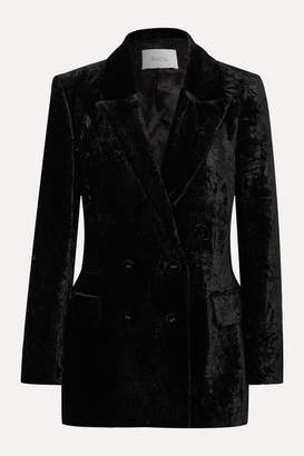 Racil Double-breasted Crushed-velvet Blazer - Black