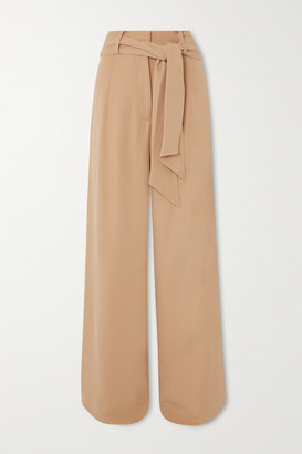 Mother of Pearl Net Sustain Belted Crepe Wide-leg Pants - Camel