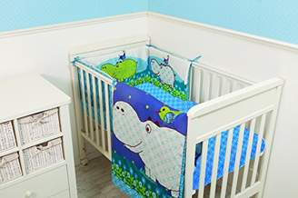 Camilla And Marc Tots by Smart Rike, 112 Bed Cot Bed Bedding Set Joy HippoT Consisting of Duvet 100 x 120 cm, Made from 100% Wool Satin, 100% PES Filling and Quilt: Cot Bumper: 32 x 176 cm Fitted Sheet 140 x 70 cm Blue/Green