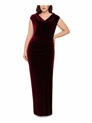 Xscape Evenings Womens Burgundy Zippered Cap Sleeve Cowl Neck Full-Length Sheath Evening Dress Plus US Size: 20W