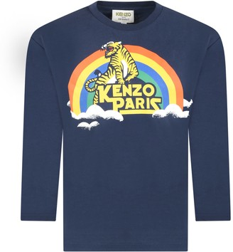 Kenzo Kids Blue T-shirt For Babyboy With Rainbow