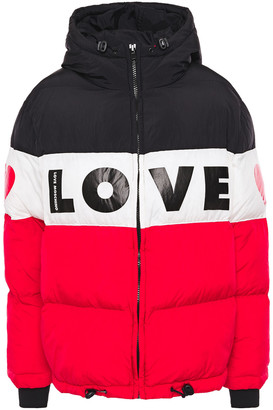 Love Moschino Color-block Logo-print Quilted Shell Hooded Jacket
