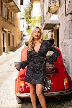 Little Mistress X Amy Neville Star-Print Flare Sleeve Shift Dress