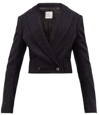 Hillier Bartley Cropped Pinstripe-wool Jacket - Womens - Navy White