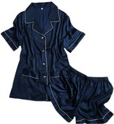 CHUNG Womens Imitation silk Short Sleeve Shirts with Shorts Pajama Sets Light Weight Comfort XS-L