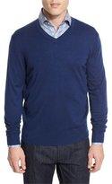 Neiman Marcus Cashmere-Silk V-Neck Sweater, Navy