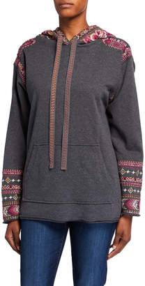 Johnny Was Valmere Pull-On Hoodie Sweatshirt w/ Embroidery