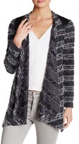 Grayse Faux Leather Boucle Knit Cardigan