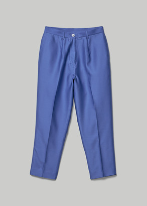Lapis Chelsea Mak Women's June Silk Shantung Tapered Pants in Size XS