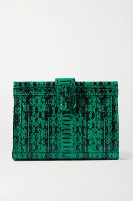 XIMENA KAVALEKAS Megan Snake-effect Leather Clutch - Green