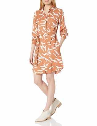 Daily Ritual Amazon Brand Women's Georgette Long-Sleeve Button Down Shirt Dress