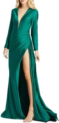 Mac Duggal Plunge Long Sleeve Satin Gown