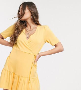 Asos DESIGN Petite wrap mini dress in buttermilk
