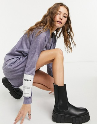 Religion long-sleeved T-shirt dress in tie grey