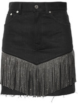 Saint Laurent Studded Leather-fringed Denim Mini Skirt - Black