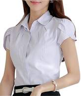 Double Plus Open DPO Women's Cotton Collared Button Down Shirt Short Sleeve Work Blouse