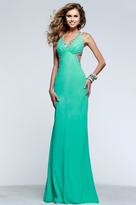 Faviana 7516 Strappy Beaded Halter Sheath Long Gown