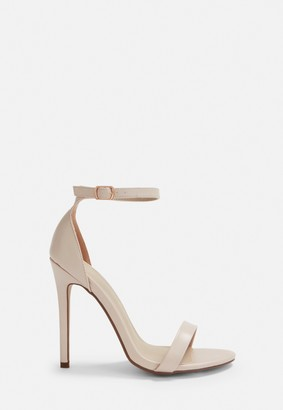 Missguided Nude Faux Leather Barely There Heels